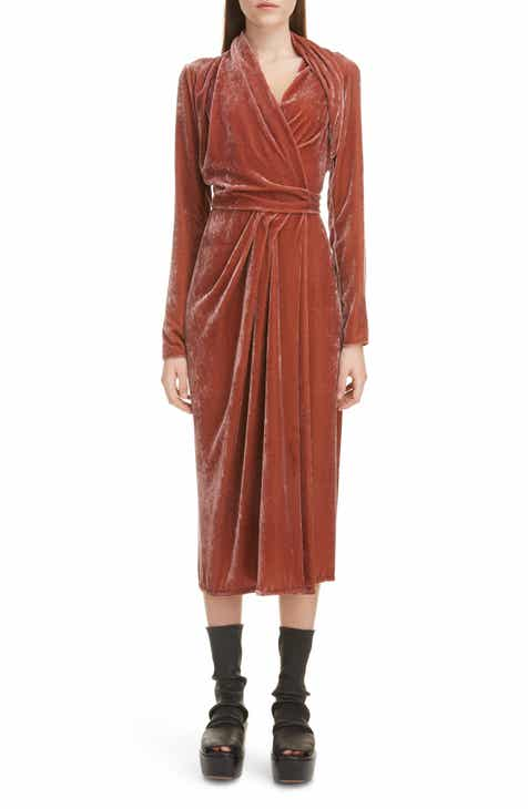 6244d5e070 Rick Owens Long Sleeve Velvet Midi Wrap Dress