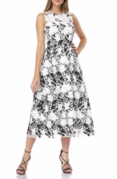 Carmen Marc Valvo Infusion Sleeveless Embroidered Midi Dress