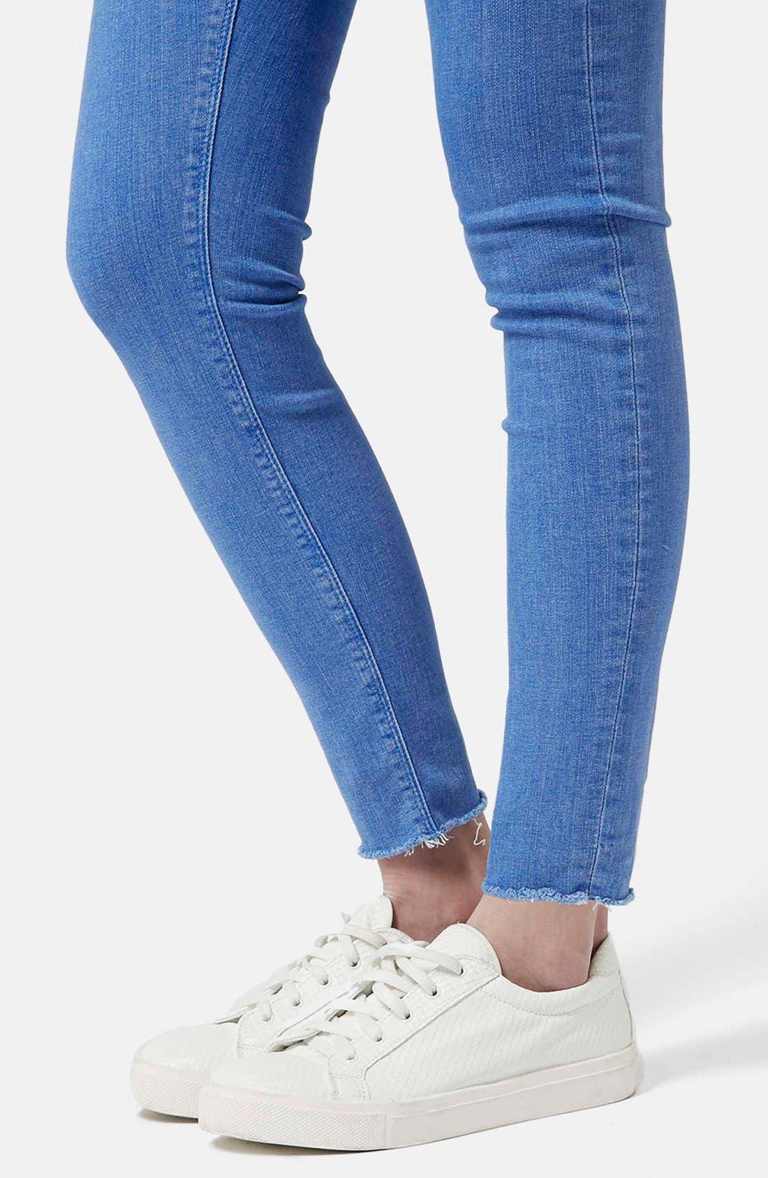Alternate Image 4  - Topshop Moto 'Jamie' High Waist Skinny Jeans (Blue) (Short)
