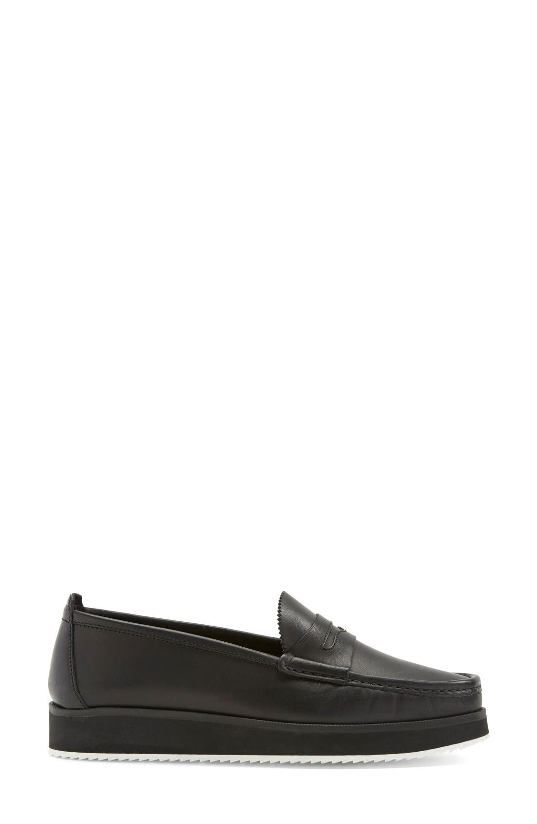 'Tanya' Penny Loafer,                             Alternate thumbnail 4, color,                             Black Leather