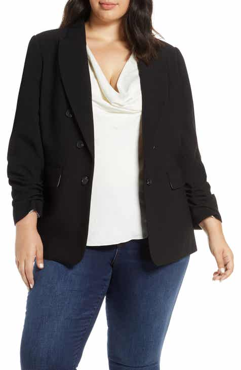 458201f97 1.STATE Ruched Sleeve Stretch Crepe Blazer (Plus Size)