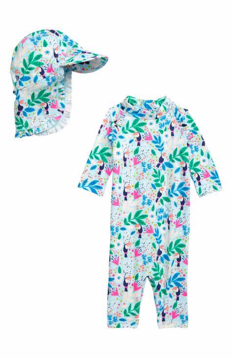 7fd48b6a3d Mini Boden Tropical Toucan One-Piece Rashguard & Sun Hat Set (Baby & Toddler  Girls)