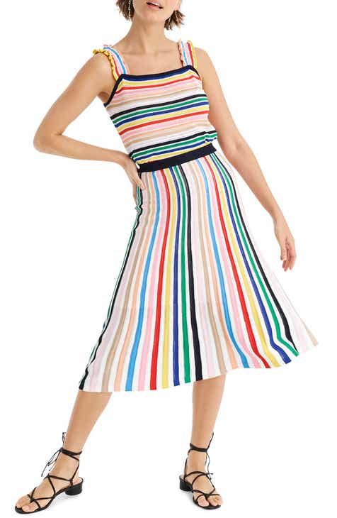 94dfba124a J.Crew Rainbow Stripe Pull-On Flare Skirt