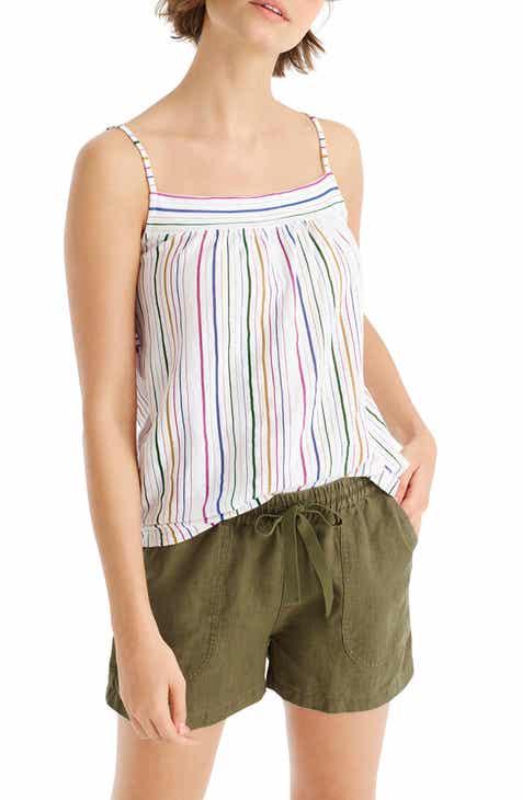 J.Crew Stripe Vintage Cotton Smocked Back Tank Top