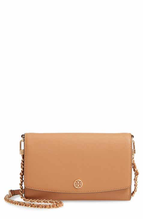 88193468987b Tory Burch Robinson Leather Wallet on a Chain