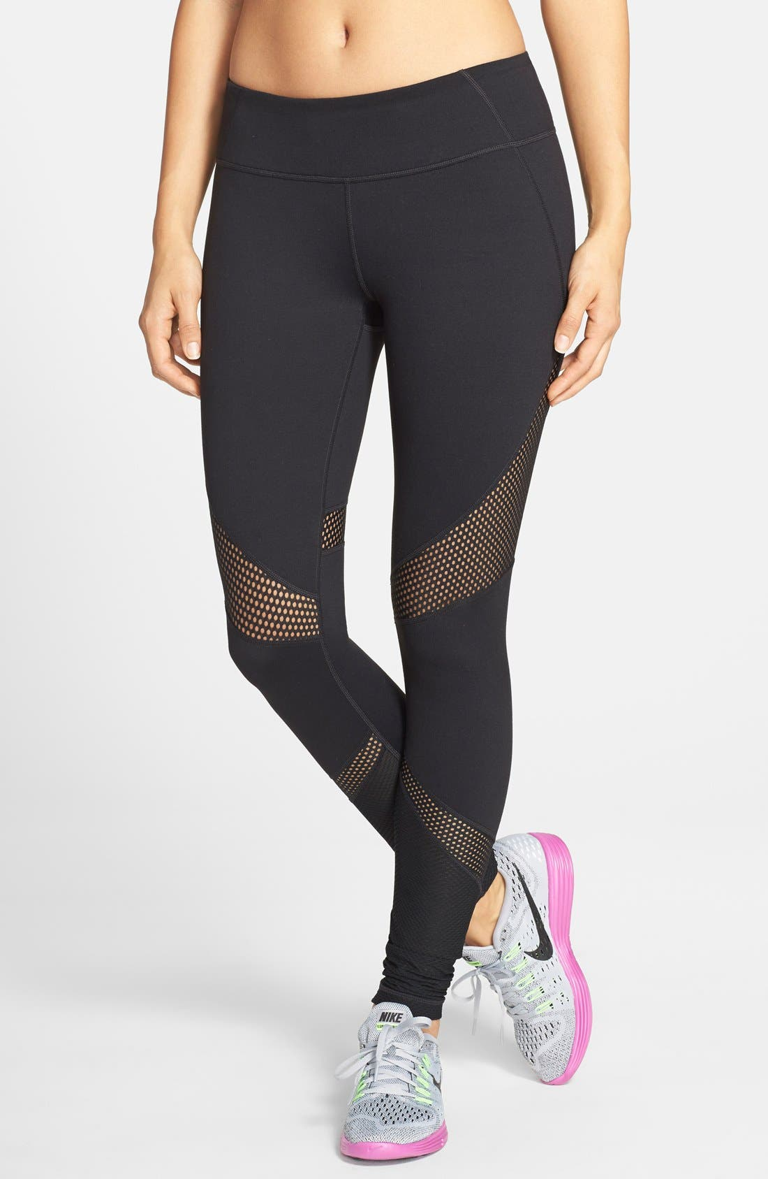 'Live In - Out of Bounds' Slim Fit Leggings,                             Main thumbnail 1, color,                             Black