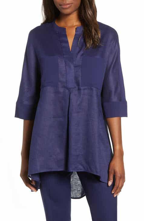 fe85d495cec Anne Klein Asymmetrical Hem Linen Tunic Top