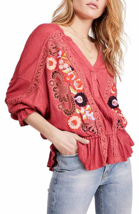 Free People Serafina Embroidered Floral & Crochet Top Sale