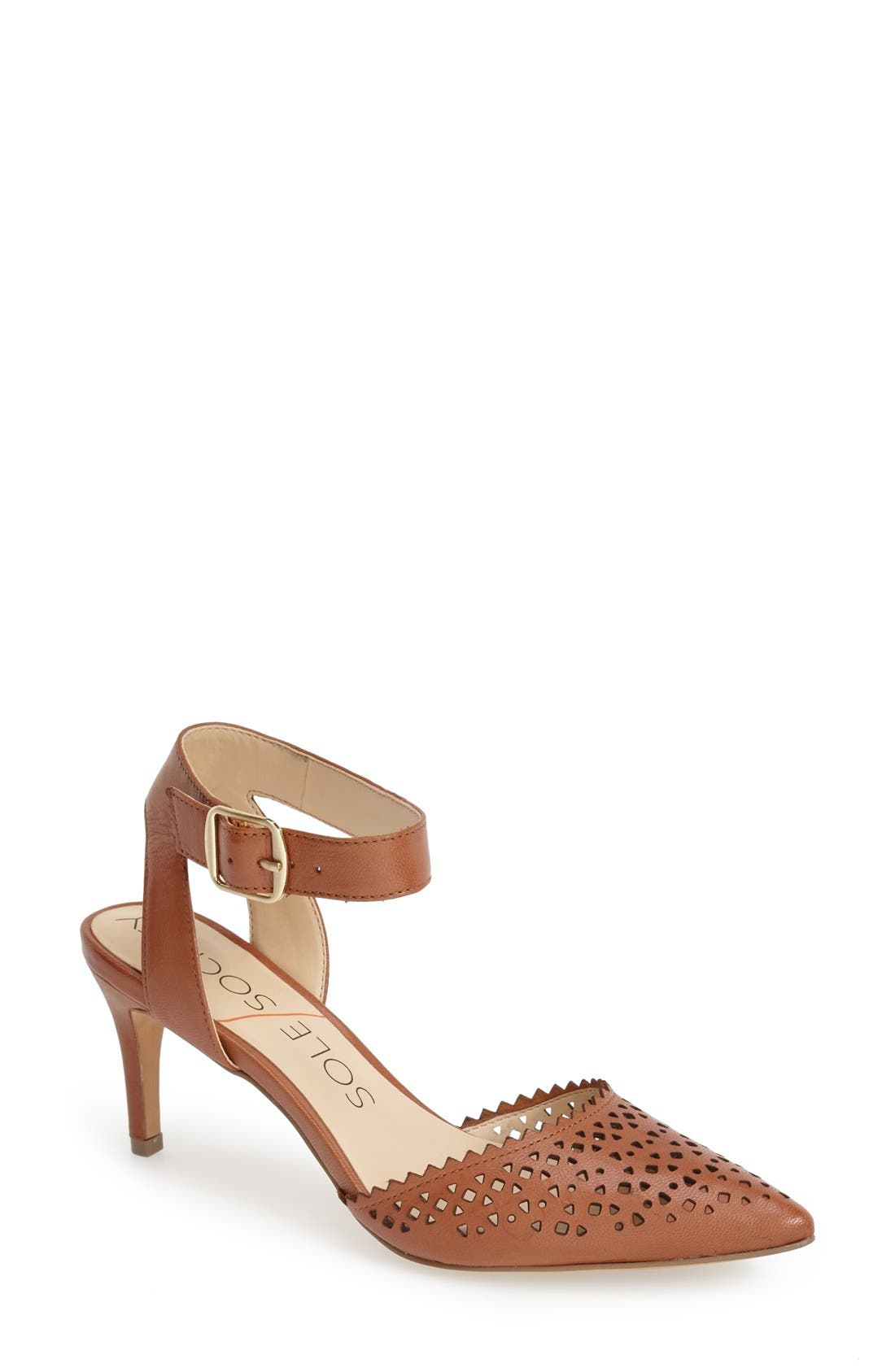 'Emma' Ankle Strap Pump,                         Main,                         color, Light Luggage