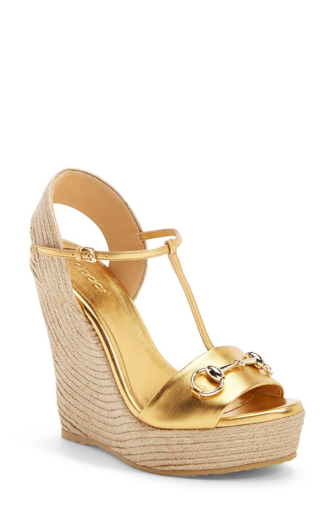 Alternate Image 1 Selected - Gucci 'Rafia' T-Strap Wedge Sandal (Women)