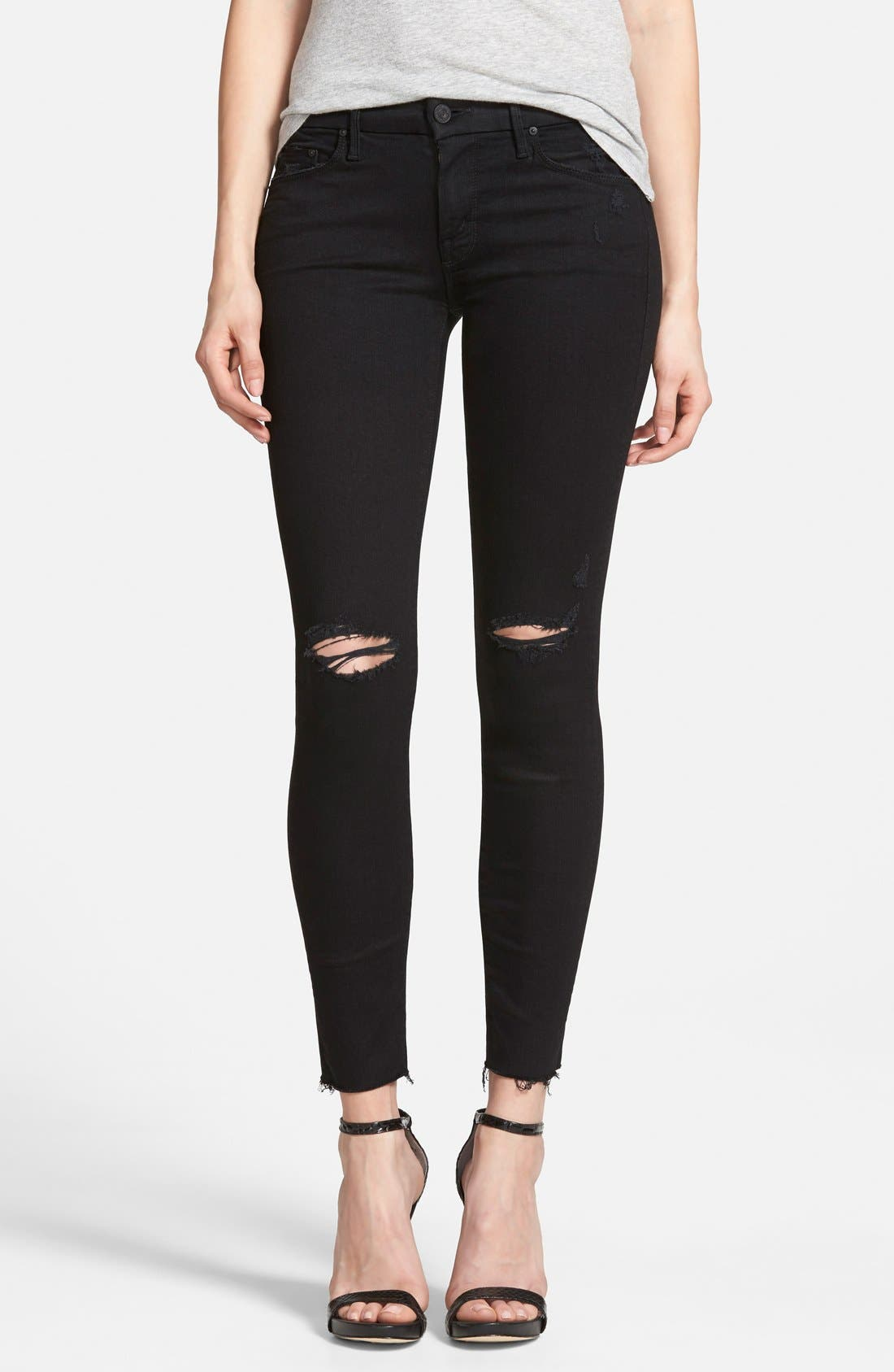 MOTHER 'The Looker' Frayed Ankle Skinny Jeans (Guilty As Sin)