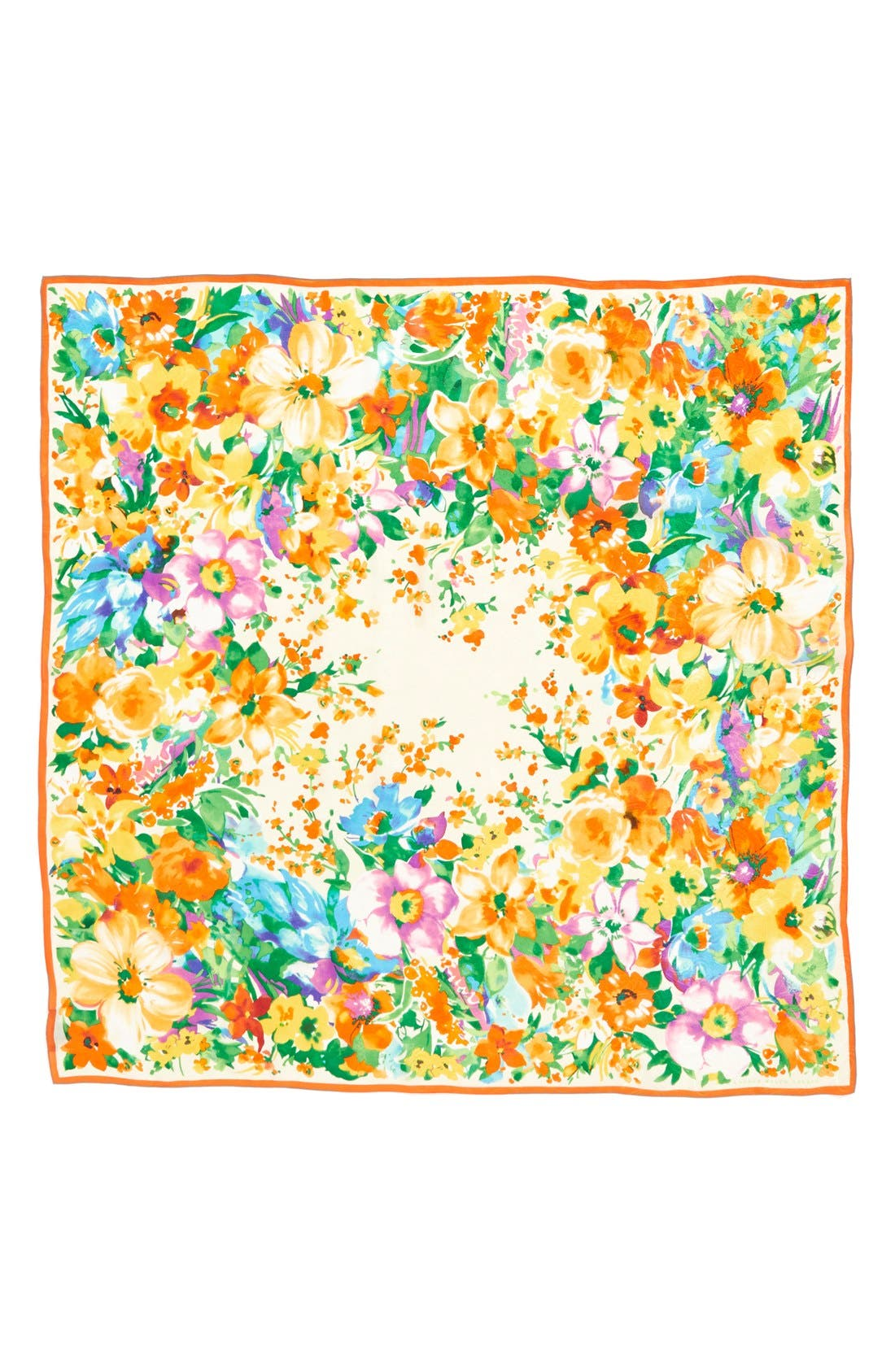Floral Print Silk Square Scarf,                             Alternate thumbnail 2, color,                             Pearl