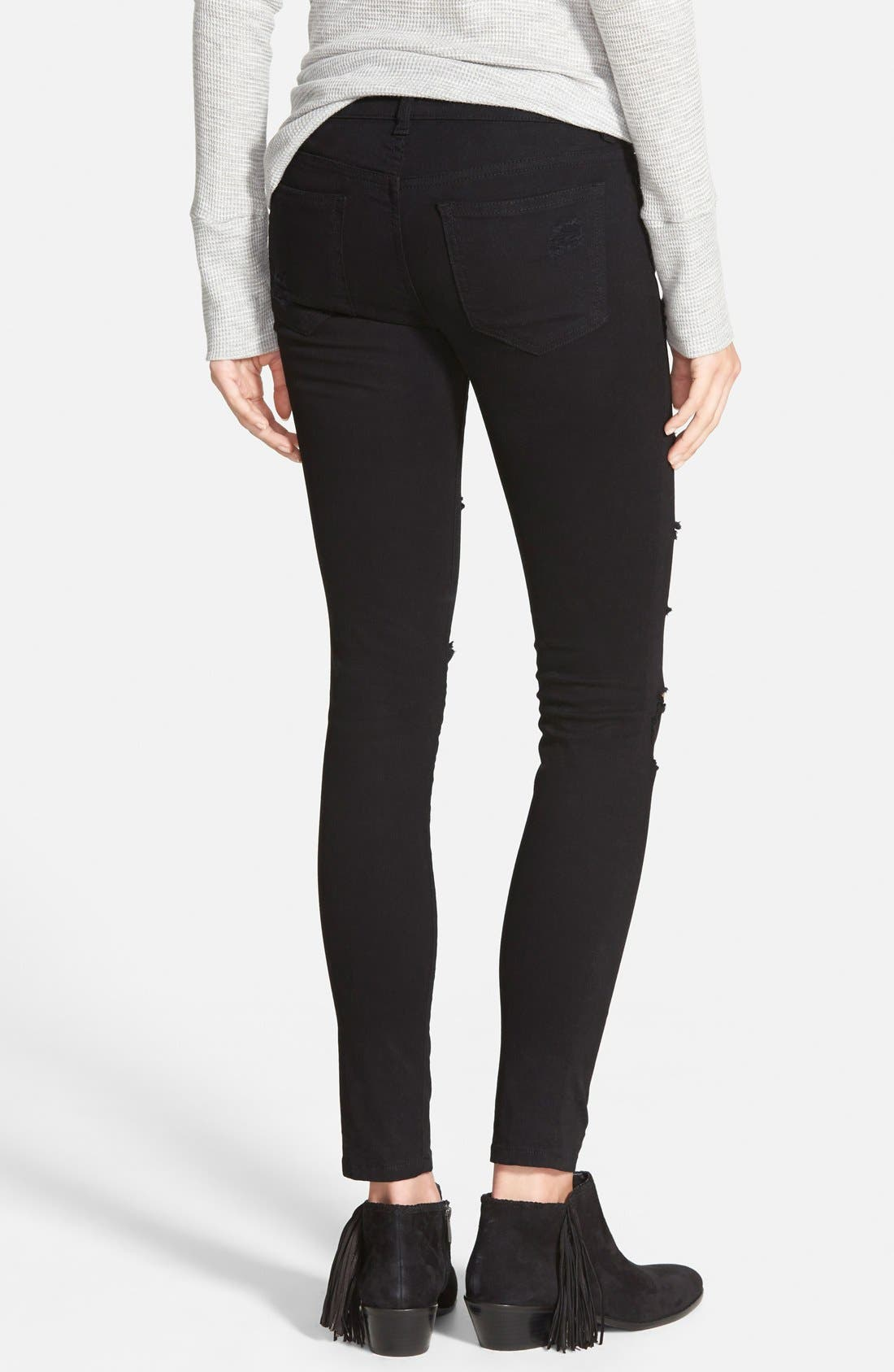 Destroyed Low Rise Skinny Jeans,                             Alternate thumbnail 3, color,                             Black