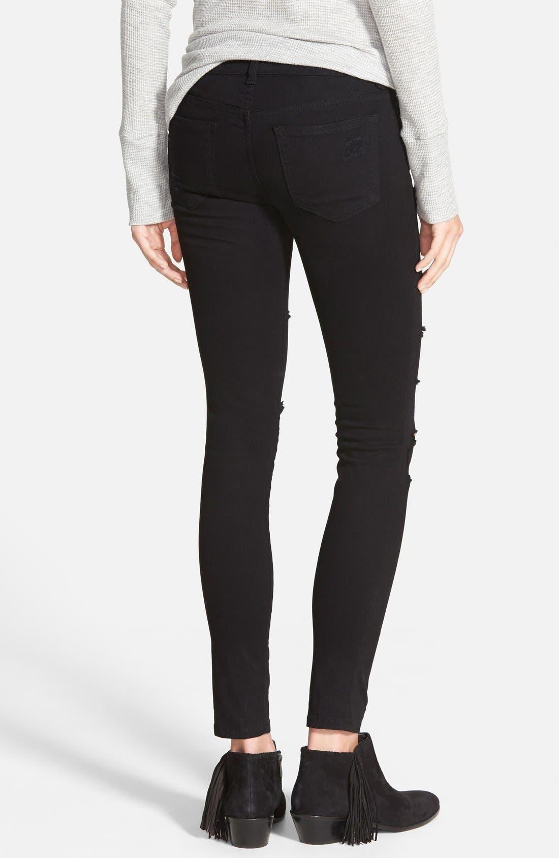 Alternate Image 3  - SP Black Destroyed Low Rise Skinny Jeans (Black) (Online Only)