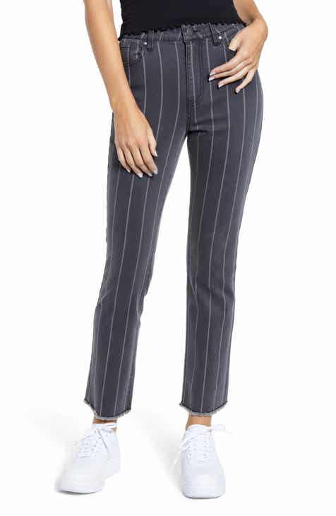 Tinsel Pinstripe High Waist Straight Leg Jeans