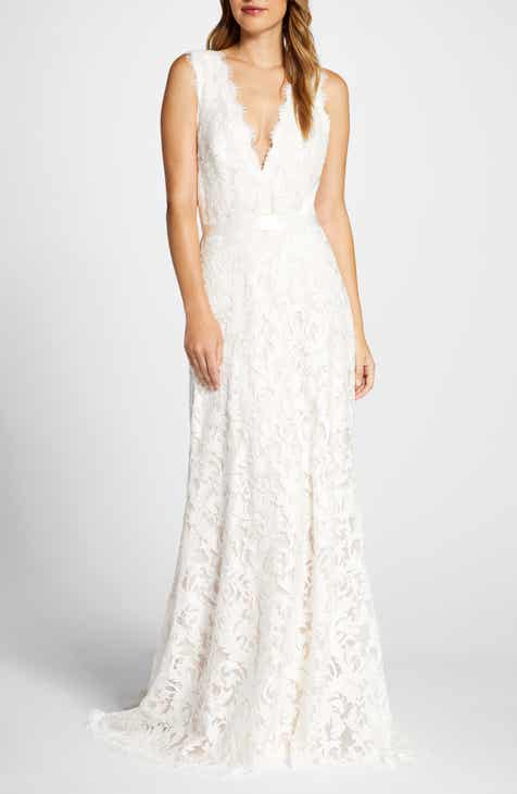 Tadashi Shoji Deep V-Neck Lace Trumpet Wedding Dress