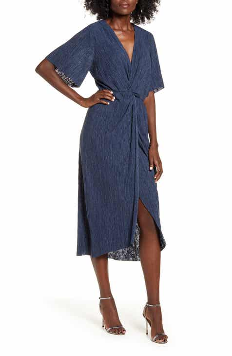 All in Favor Dolman Plissé Midi Dress