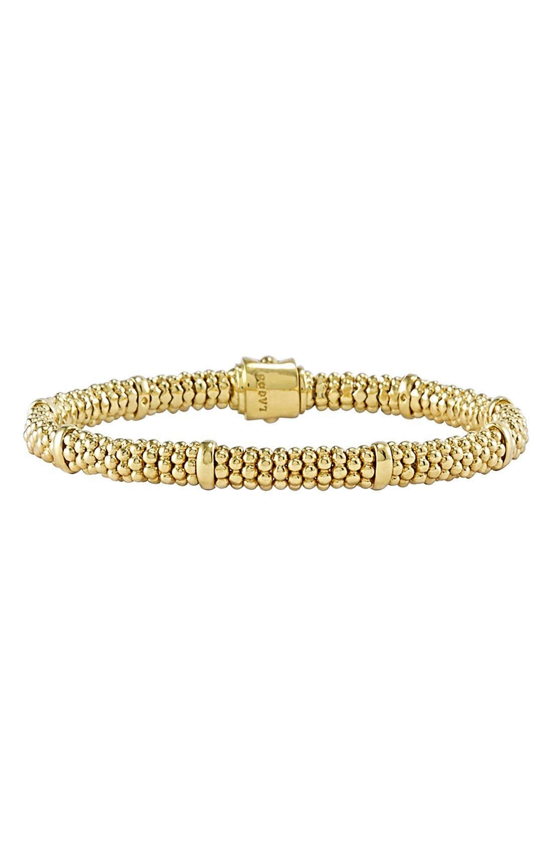 Caviar Rope Bracelet,                             Main thumbnail 1, color,                             Gold