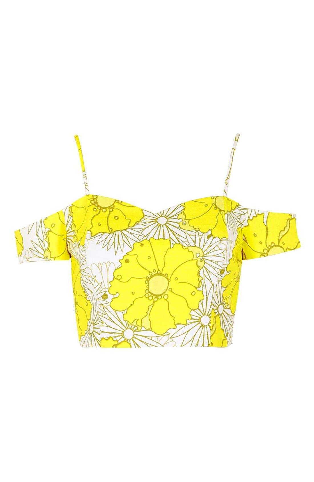 Alternate Image 3  - Topshop Floral Print Cold Shoulder Top (Regular & Petite)