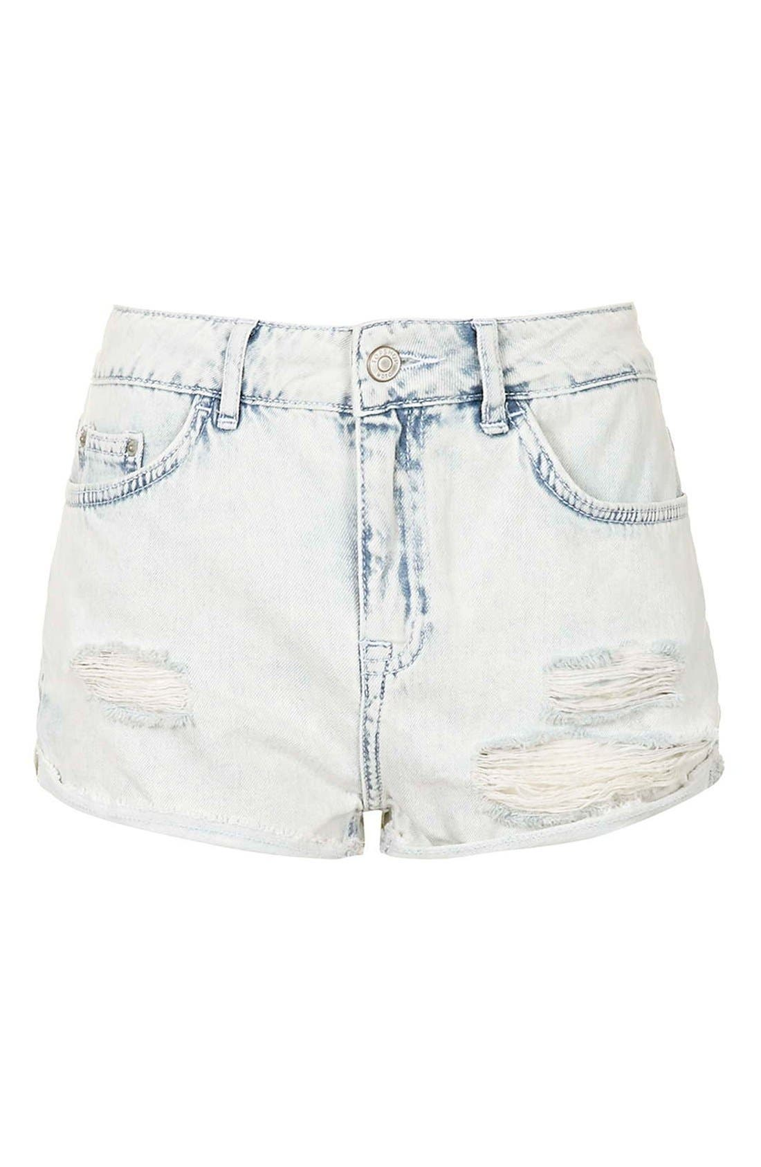 Alternate Image 3  - Topshop Moto 'Hallie' Bleach Cutoff Shorts (Light Denim) (Petite)