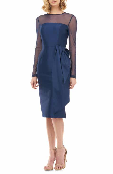 Kay Unger Illusion Neck Long Sleeve Mikado Cocktail Dress