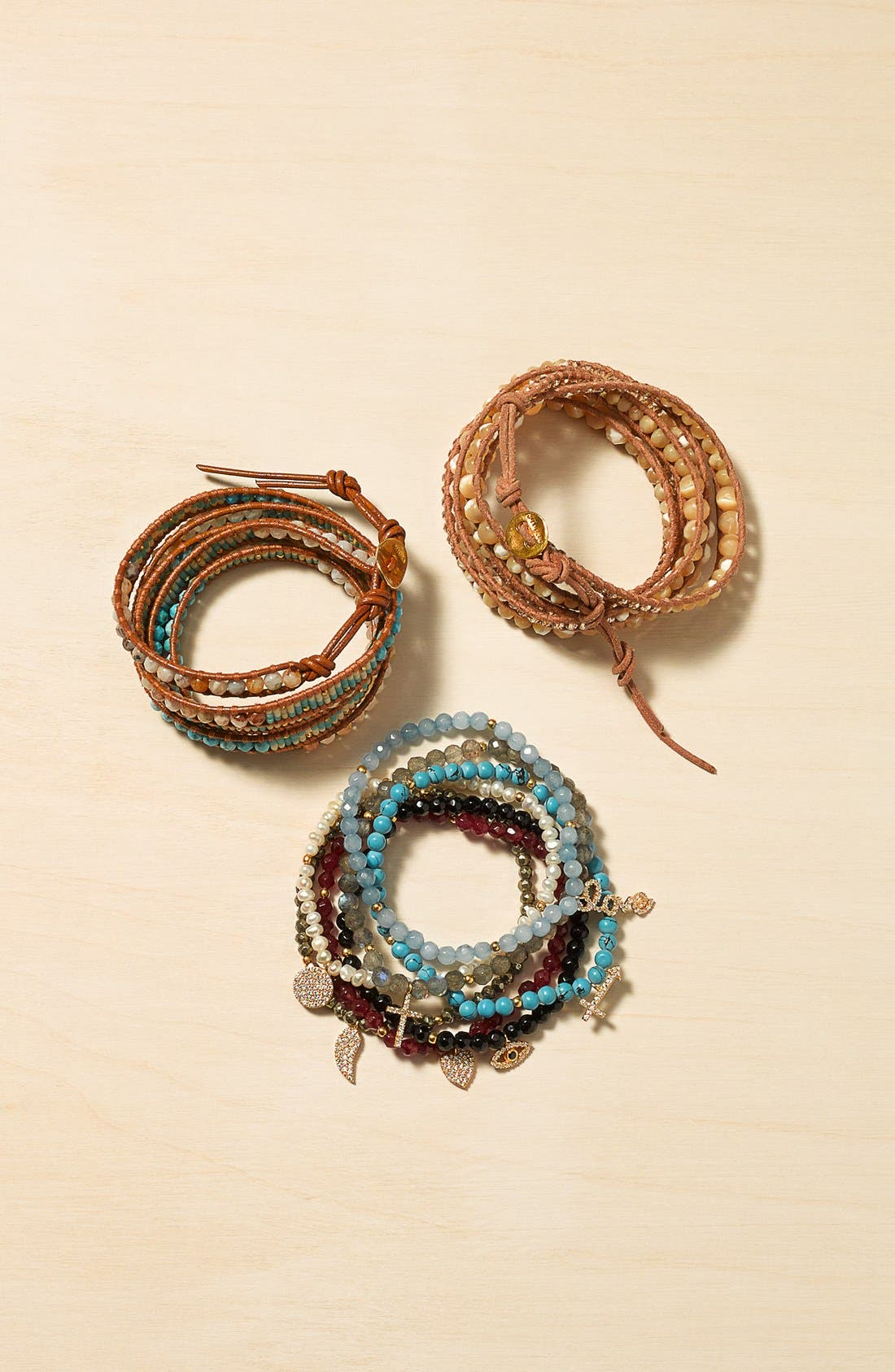 Alternate Image 2  - Chan Luu Beaded Leather Wrap Bracelet