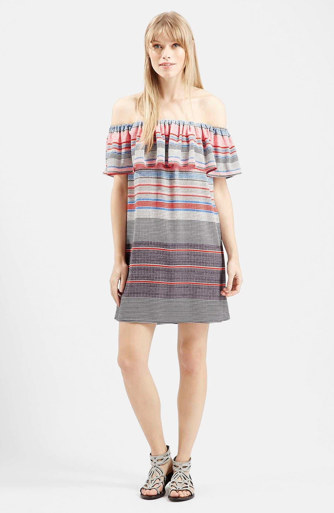 'Sumi' Stripe Off the Shoulder Dress,                             Alternate thumbnail 5, color,                             Red Multi