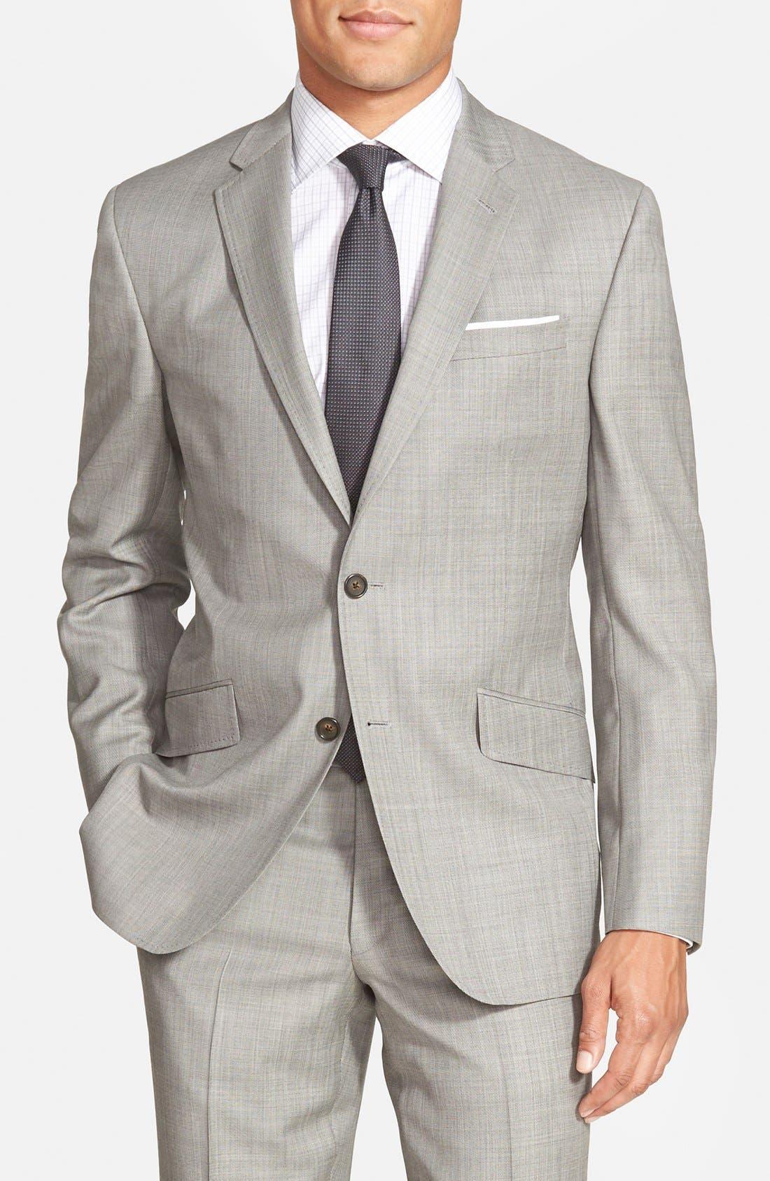 Jones Trim Fit Wool Suit,                             Alternate thumbnail 4, color,                             Medium Grey