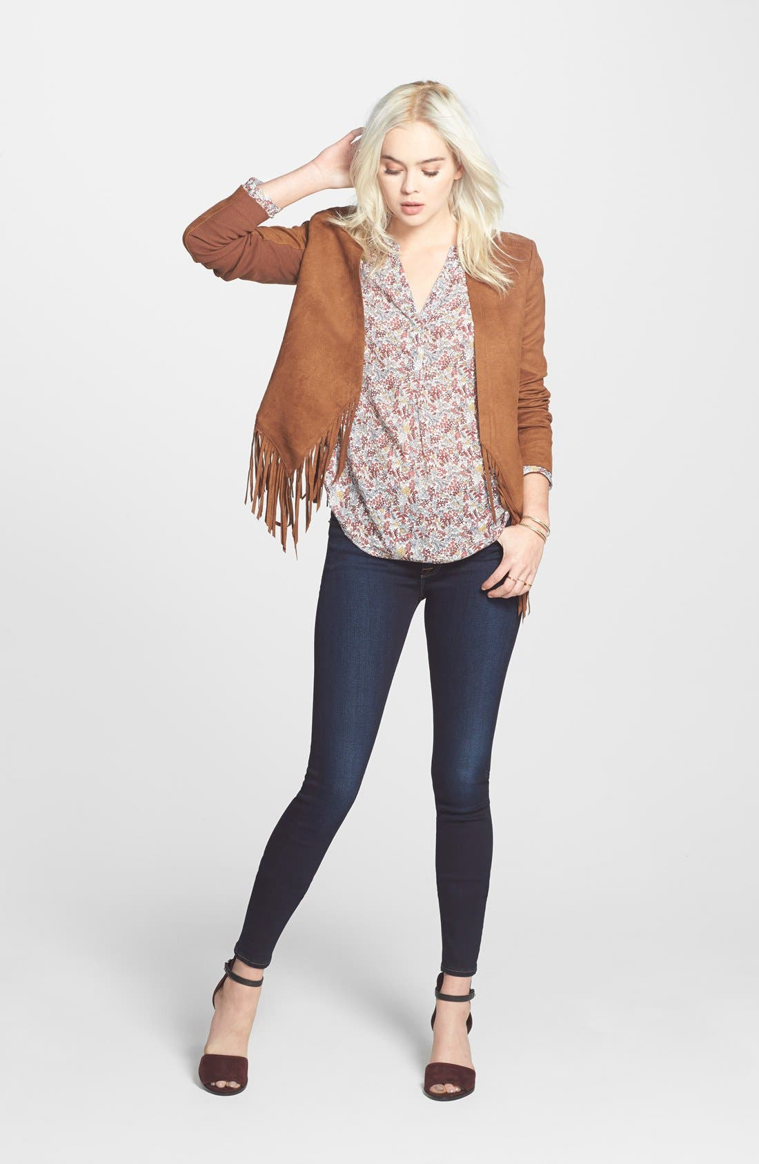 Fringe Faux Suede Jacket,                             Alternate thumbnail 2, color,                             Brown Toffee