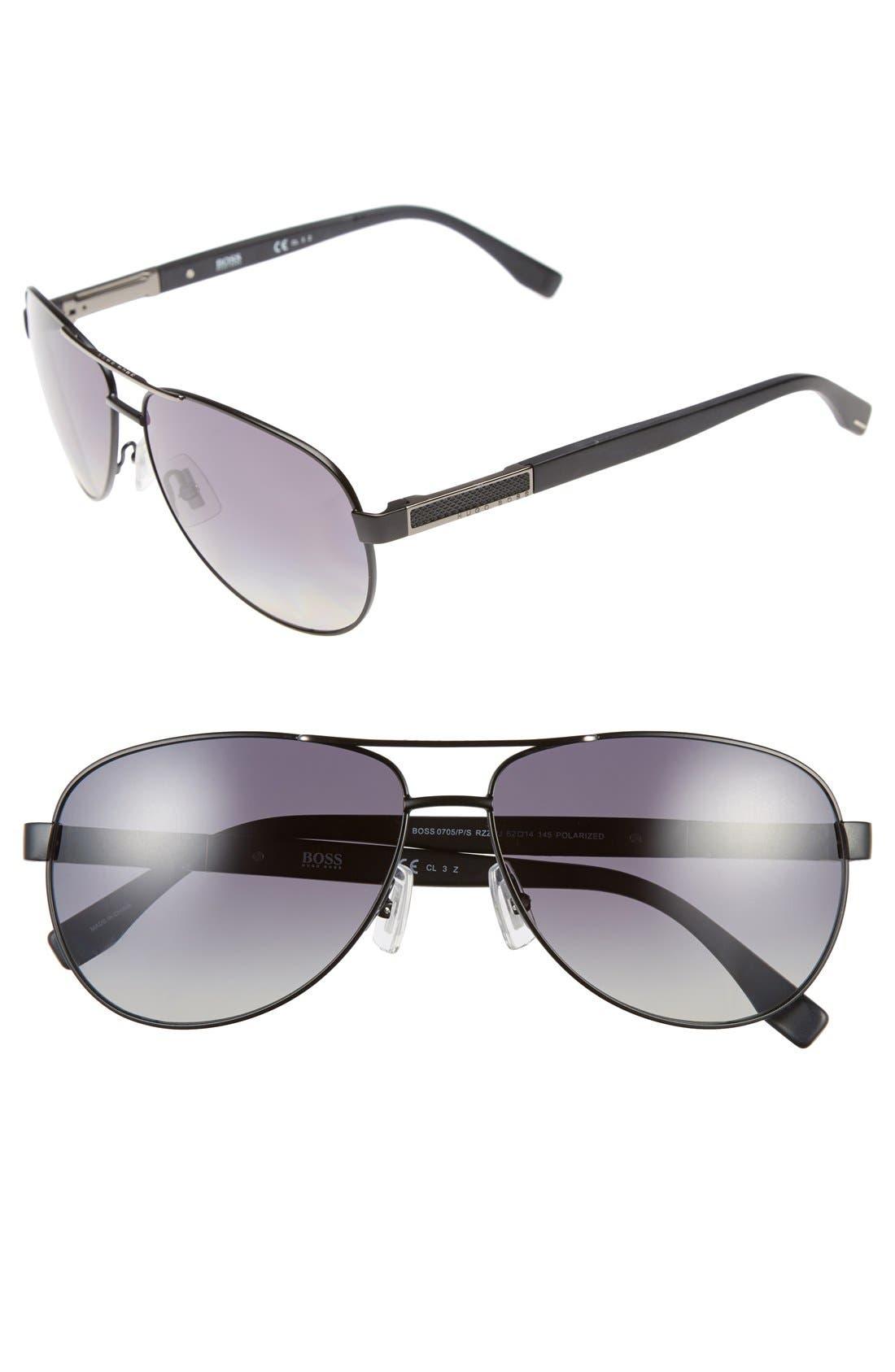 Main Image - BOSS 62mm Polarized Aviator Sunglasses