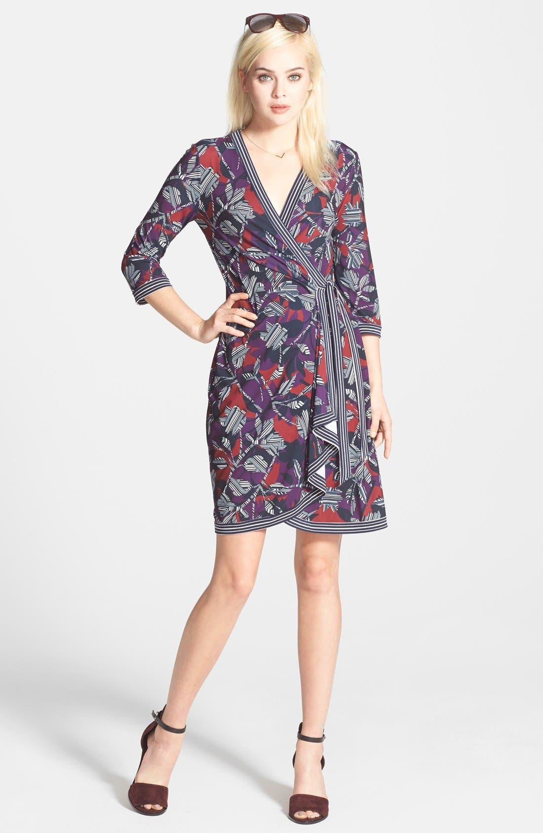 Main Image - BCBGMAXAZRIA 'Adele' Print Matte Jersey Wrap Dress