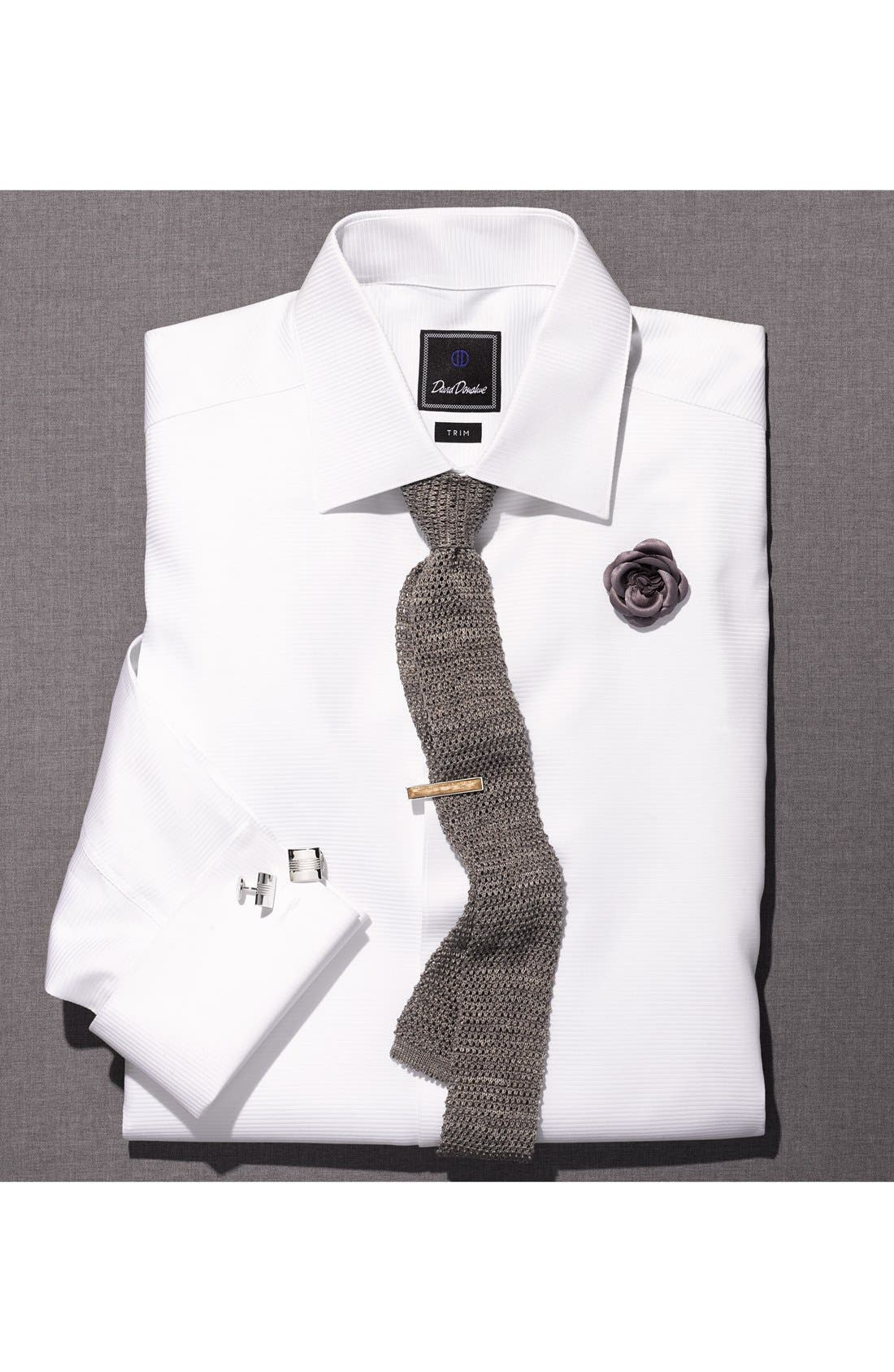 Alternate Image 3  - David Donahue Trim Fit Twill French Cuff Tuxedo Shirt