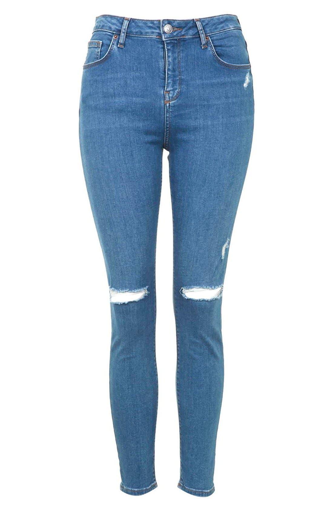 Alternate Image 3  - Topshop Moto 'Jamie' High Rise Skinny Jeans (Mid Denim) (Regular & Petite)