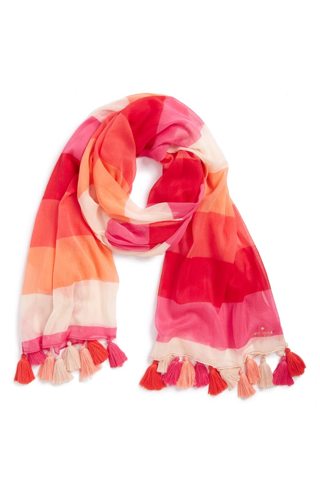 Main Image - kate spade new york 'ombré pom' colorblock scarf