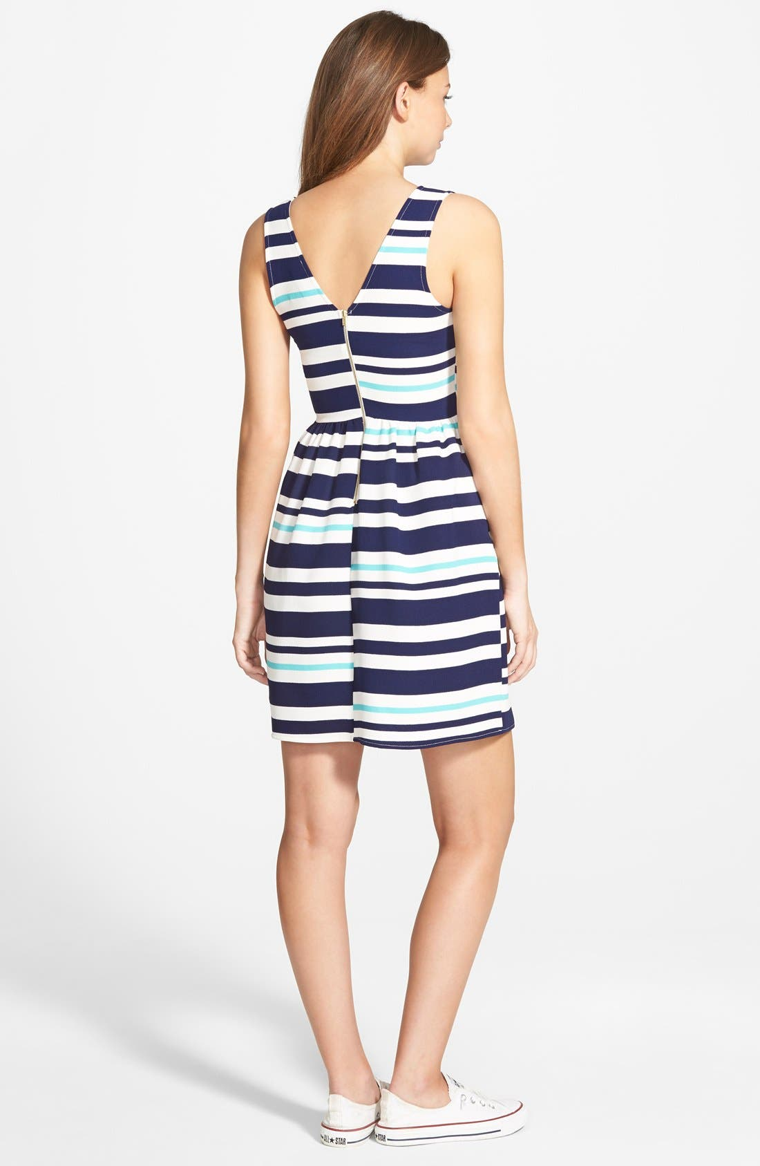 Alternate Image 2  - Everly Stripe Skater Dress