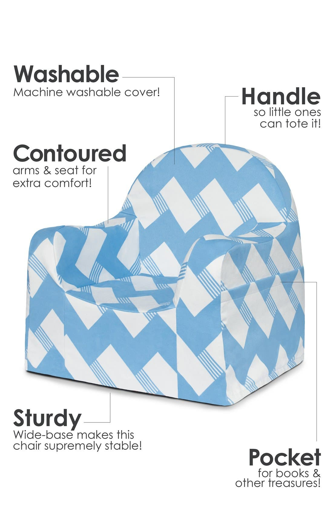 'Personalized Little Reader' Chair,                             Alternate thumbnail 2, color,                             Zigzag Blue