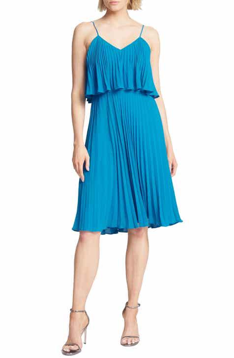 Halston Heritage Pleated Flounce Popover Dress