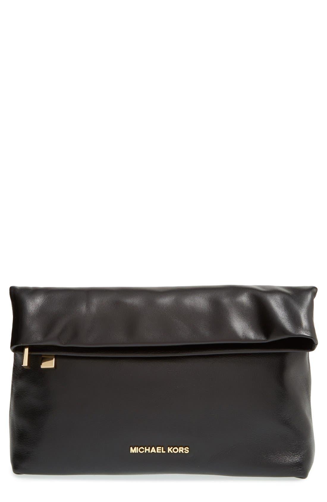 Main Image - MICHAEL Michael Kors 'Daria' Leather Foldover Clutch