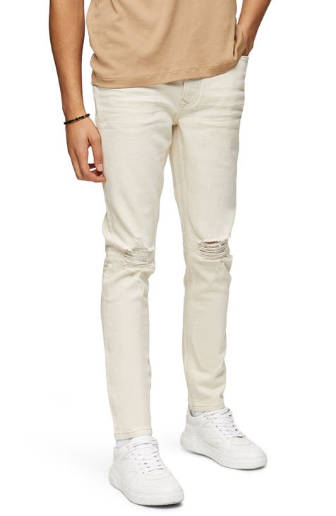 Topman Ripped Skinny Fit Jeans (Cream)