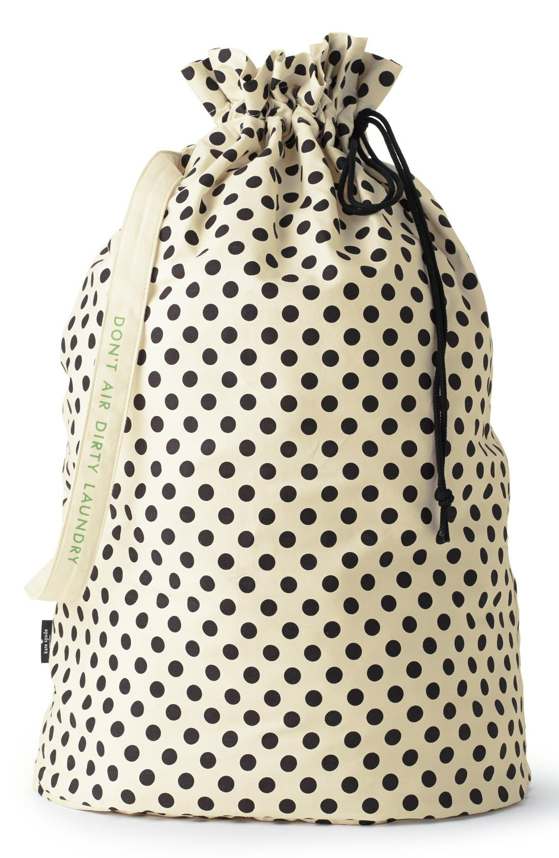 polka dot laundry bag,                         Main,                         color, Ivory