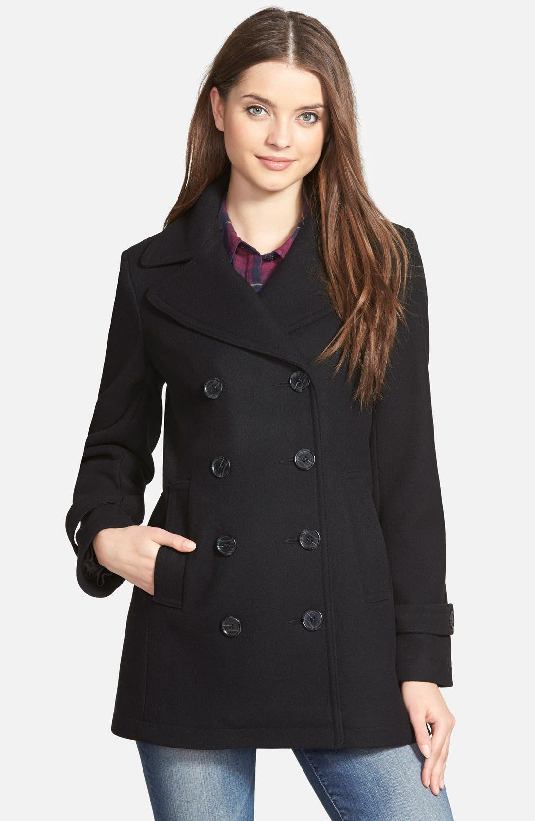 Kristen Blake Wool Blend Peacoat (Regular & Petite)
