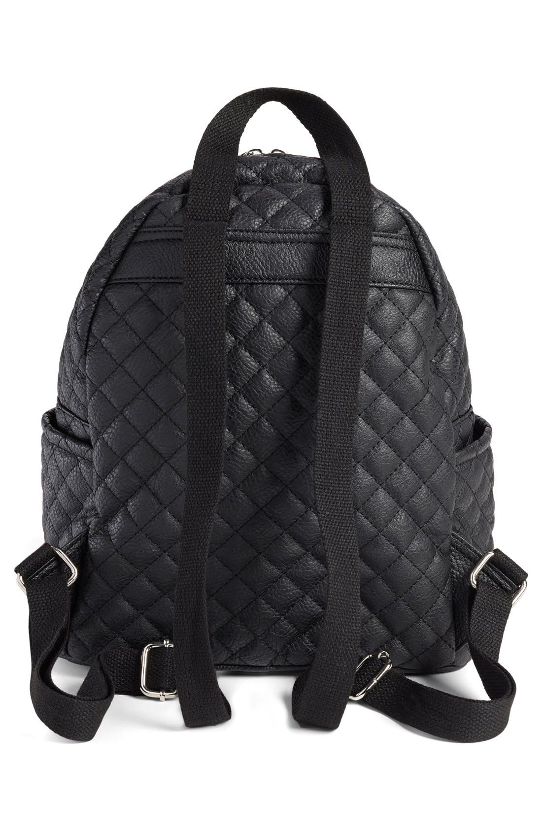 Alternate Image 6  - Amici Accessories Faux Leather Quilted Backpack