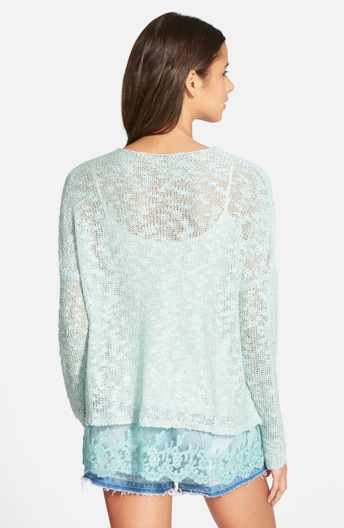 Alternate Image 2  - Woven Heart Lace Trim Sweater