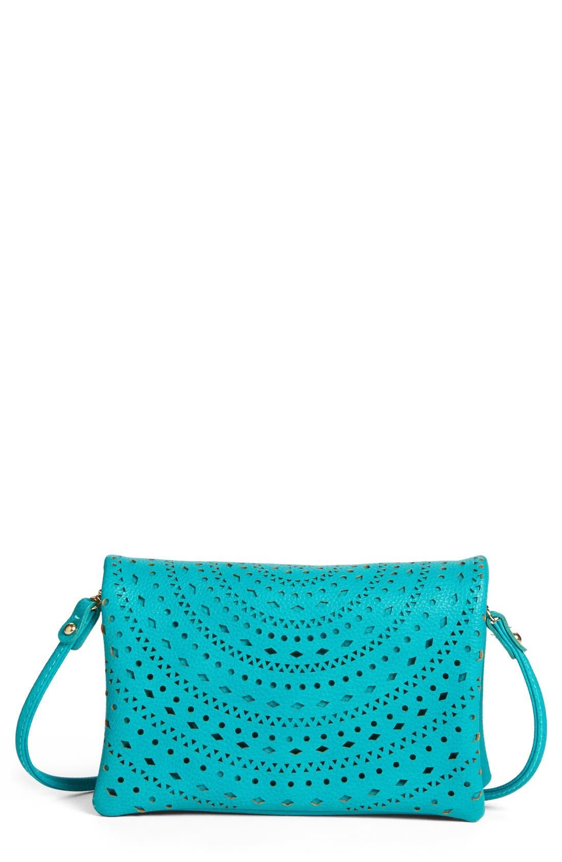 Main Image - Street Level Perforated Faux Leather Mini Crossbody Bag