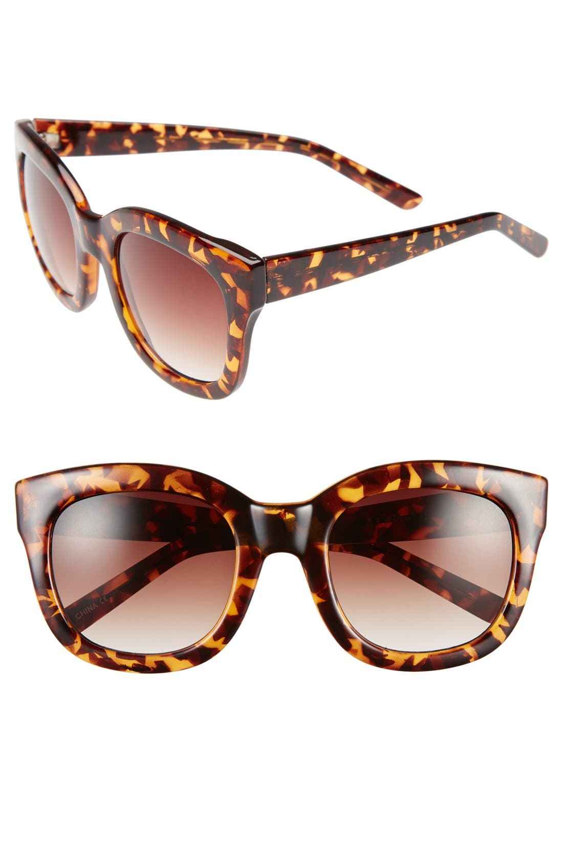 'Feline' 54mm Oversized Cat Eye Sunglasses,                             Main thumbnail 1, color,                             Tortoise