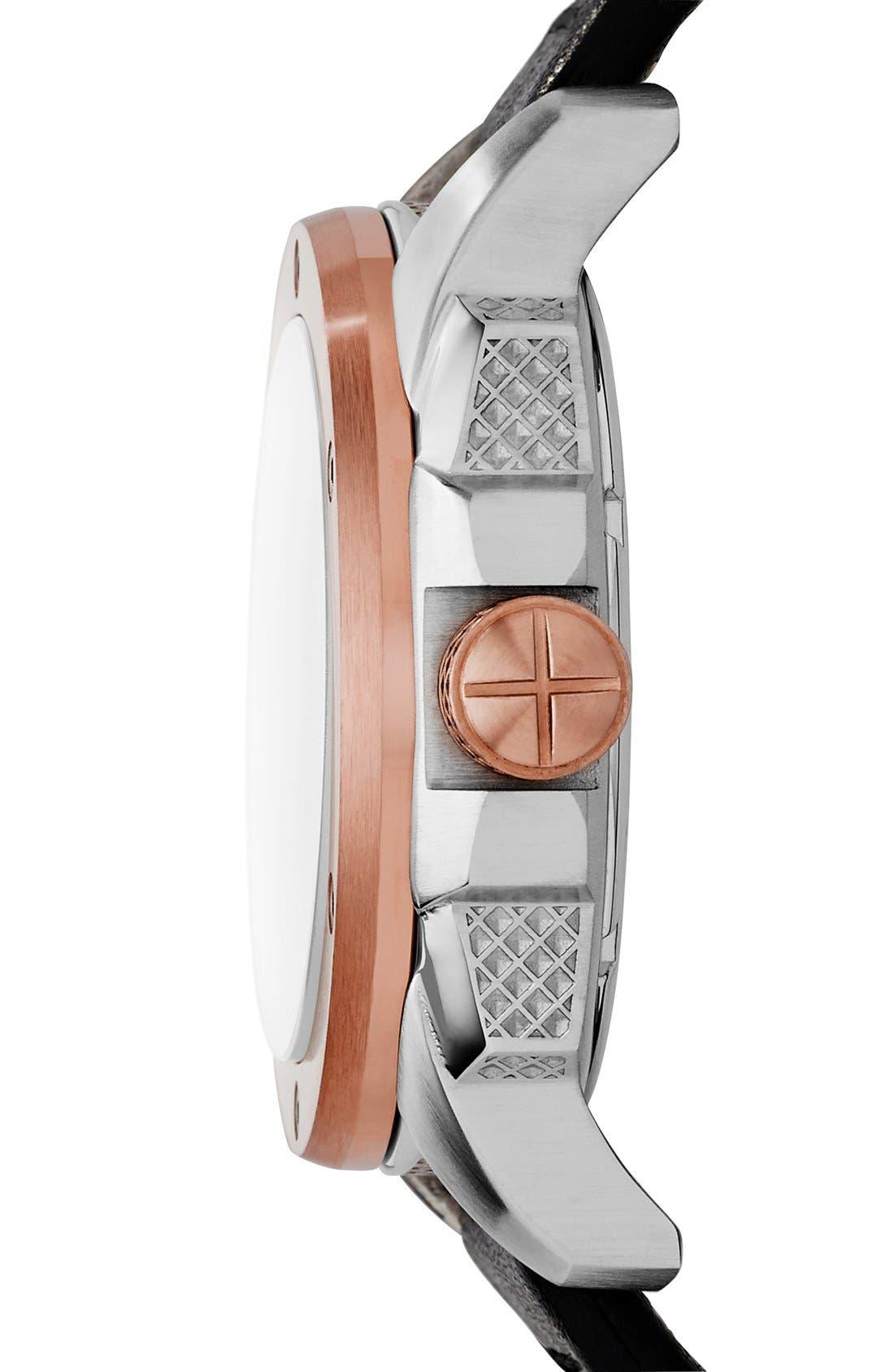 'Modern Machine' Skeleton Dial Leather Strap Watch, 50mm,                             Alternate thumbnail 3, color,                             Black/ Rose Gold