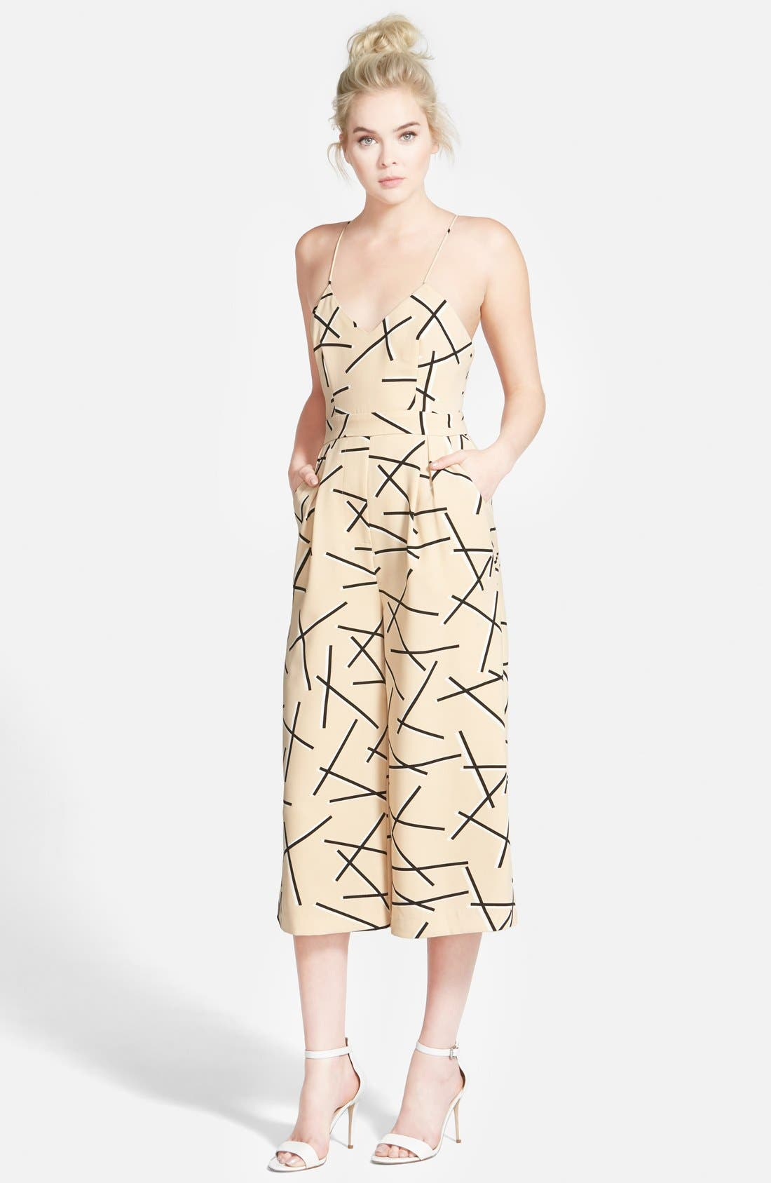 'Power Trip' Culotte Jumpsuit,                             Main thumbnail 1, color,                             Geo Beige
