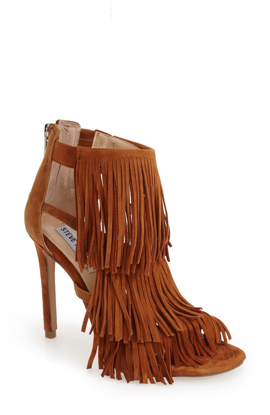 'Fringly' Sandal,                         Main,                         color, Chestnut Suede