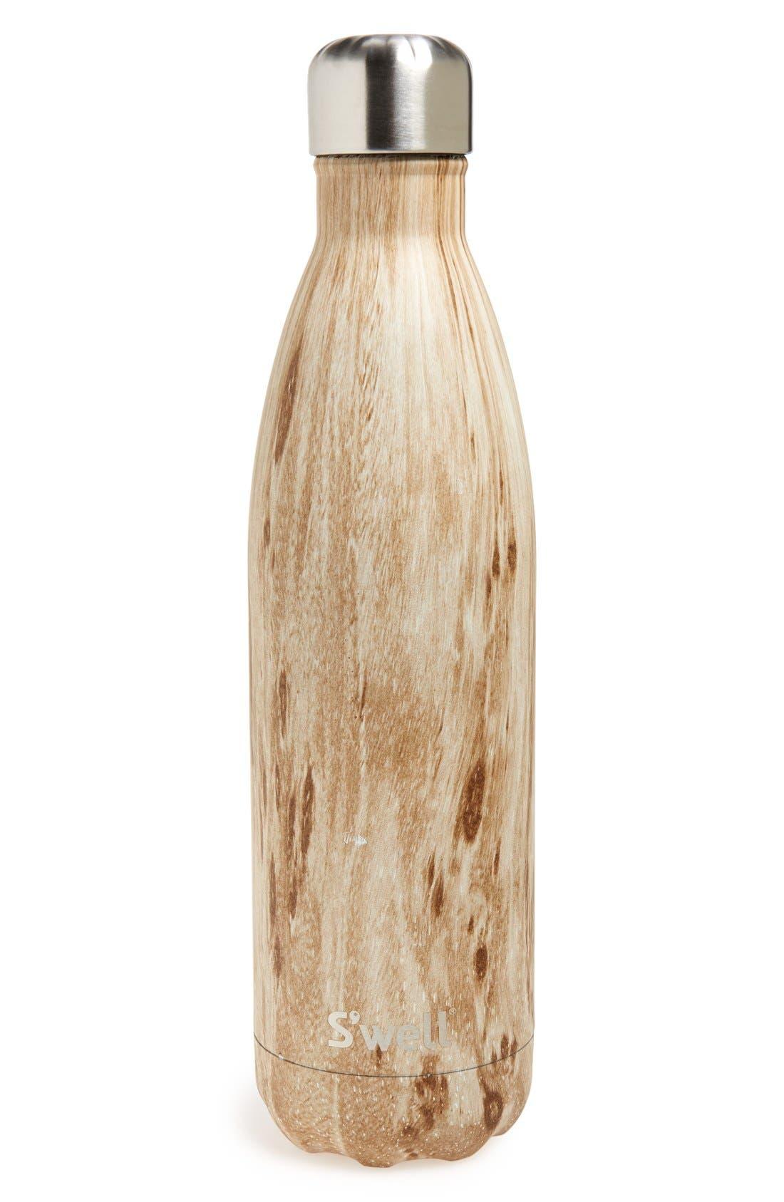 'Blonde Wood' Stainless Steel Water Bottle,                         Main,                         color, Brown