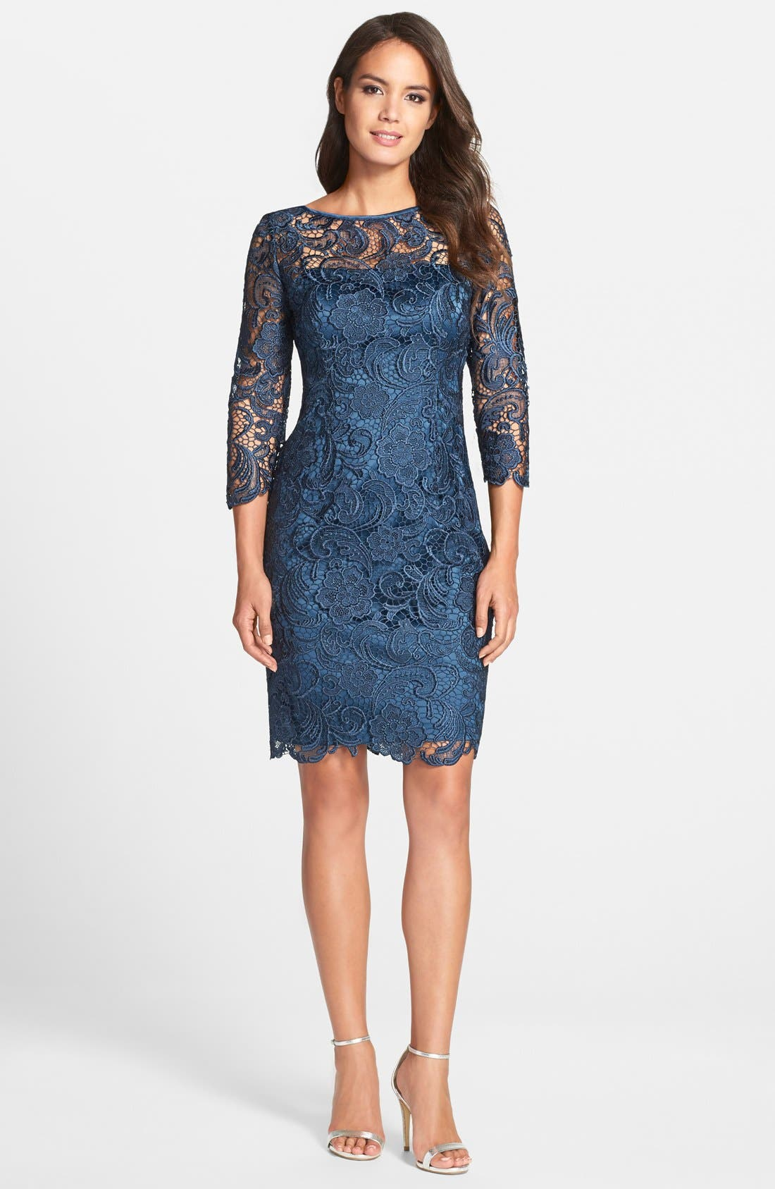 Alternate Image 3  - Adrianna Papell Illusion Yoke Guipure Lace Sheath Dress